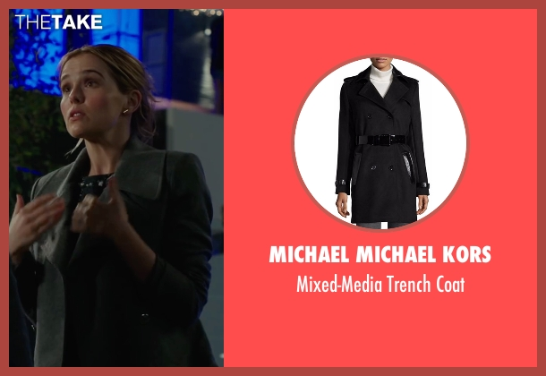 Michael Michael Kors black coat from Why Him? seen with Zoey Deutch (Stephanie Fleming)