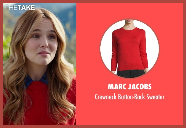 Marc Jacobs red sweater from Why Him? seen with Zoey Deutch (Stephanie Fleming)