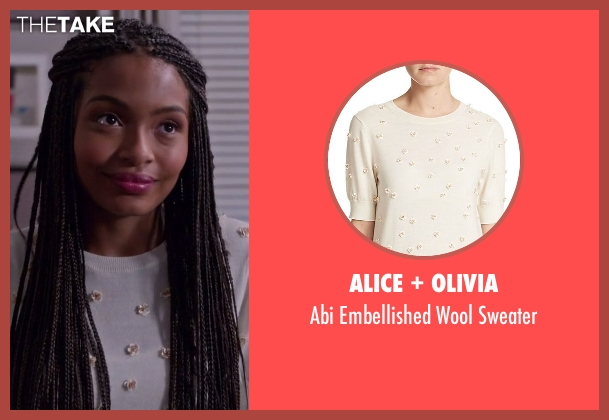 Alice + Olivia beige sweater from Black-ish seen with Zoey Johnson (Yara Shahidi)
