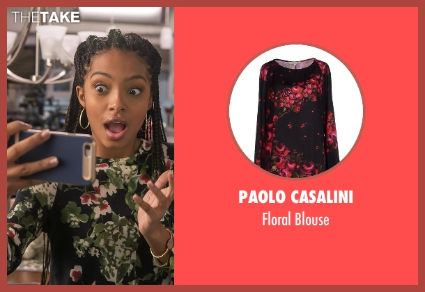 Paolo Casalini black blouse from Black-ish seen with Zoey Johnson (Yara Shahidi)