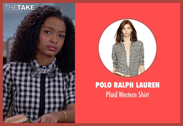 Polo Ralph Lauren black shirt from Black-ish seen with Zoey Johnson (Yara Shahidi)