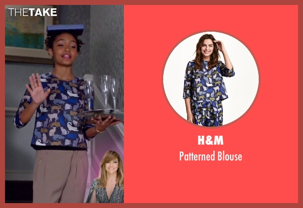 H&M blue blouse from Black-ish seen with Zoey Johnson (Yara Shahidi)