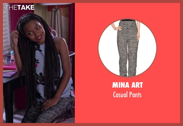 Mina Art gray pants from Black-ish seen with Zoey Johnson (Yara Shahidi)