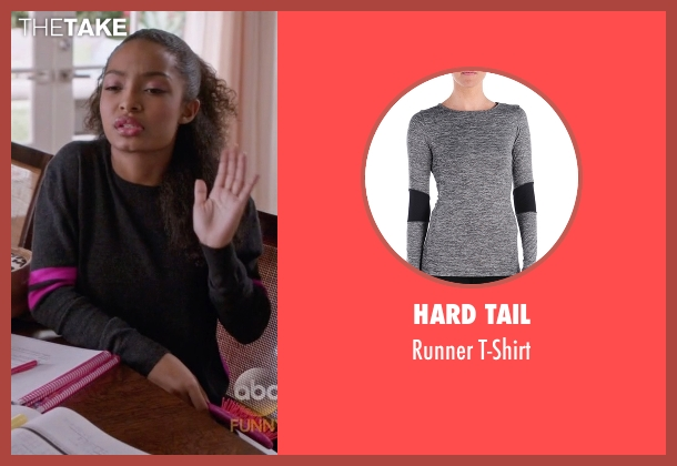 Hard Tail gray t-shirt from Black-ish seen with Zoey Johnson (Yara Shahidi)