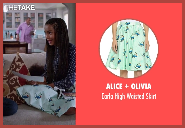 Alice + Olivia green skirt from Black-ish seen with Zoey Johnson (Yara Shahidi)
