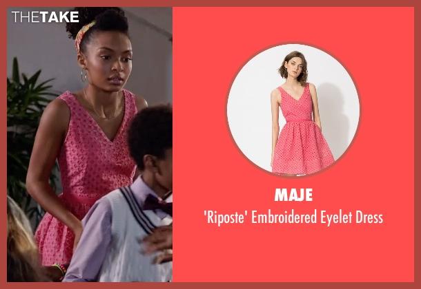 Maje pink dress from Black-ish seen with Zoey Johnson (Yara Shahidi)