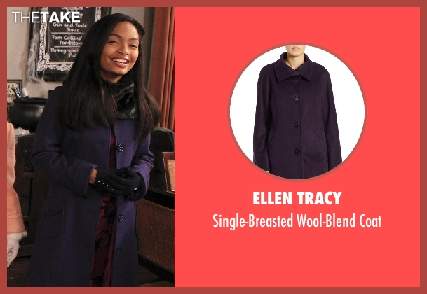Ellen Tracy purple coat from Black-ish seen with Zoey Johnson (Yara Shahidi)
