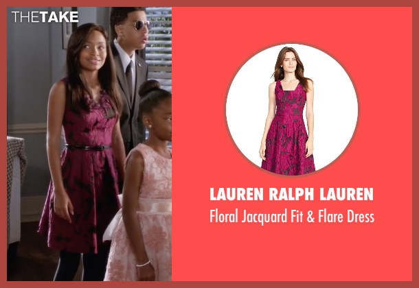 Lauren Ralph Lauren purple dress from Black-ish seen with Zoey Johnson (Yara Shahidi)