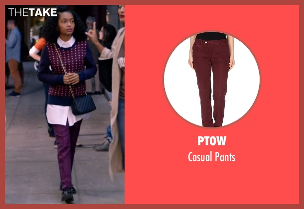 Pt0w purple pants from Black-ish seen with Zoey Johnson (Yara Shahidi)