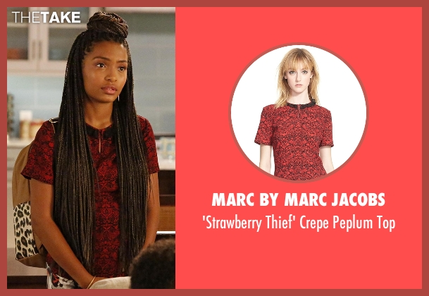Marc by Marc Jacobs red top from Black-ish seen with Zoey Johnson (Yara Shahidi)