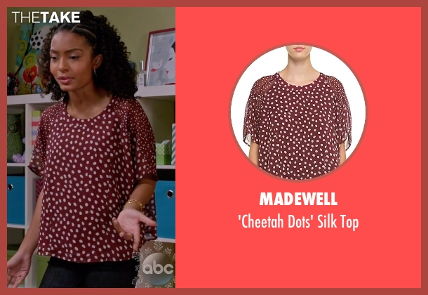 Madewell red top from Black-ish seen with Zoey Johnson (Yara Shahidi)