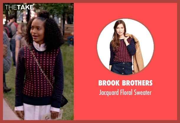 Brook Brothers sweater from Black-ish seen with Zoey Johnson (Yara Shahidi)