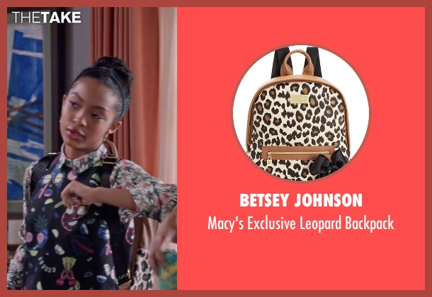 Betsey Johnson white backpack from Black-ish seen with Zoey Johnson (Yara Shahidi)