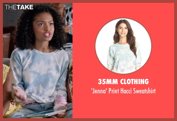 35mm Clothing white sweatshirt from Black-ish seen with Zoey Johnson (Yara Shahidi)