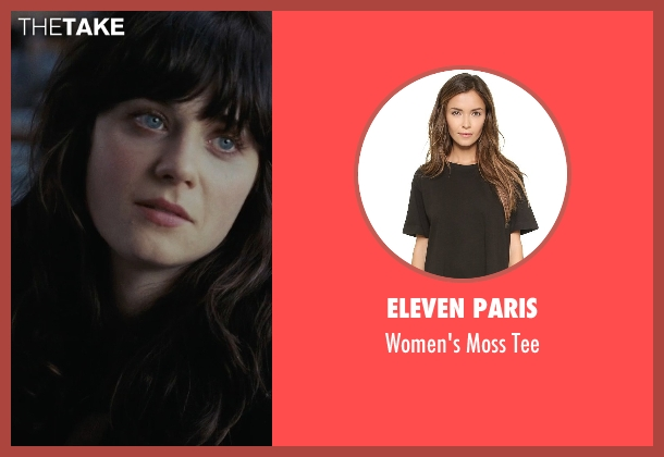 Eleven Paris black tee from (500) Days of Summer seen with Zooey Deschanel (Summer)