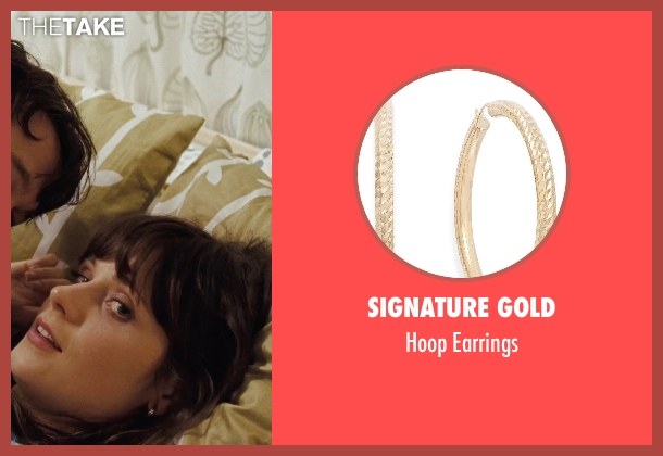 Signature Gold gold earrings from (500) Days of Summer seen with Zooey Deschanel (Summer)