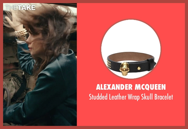 Alexander McQueen black bracelet from Rock The Kasbah seen with Zooey Deschanel (Unknown Character)