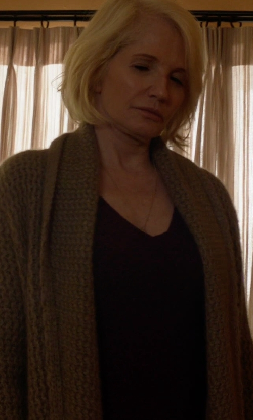 Ellen Barkin with Queene and Belle Lou Lou Cable-Knit Wool Cardigan in Animal Kingdom