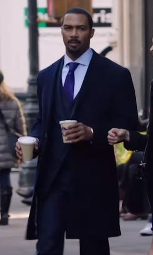 Omari Hardwick with The Kooples Double Sided Wool Coat in Power