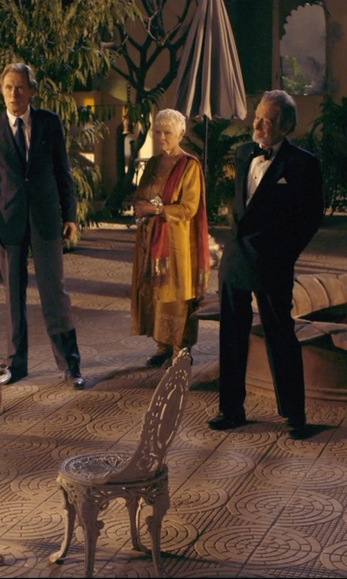 Judi Dench with Forzieri Pashmina & Silk Shawl Scarf in The Second Best Exotic Marigold Hotel