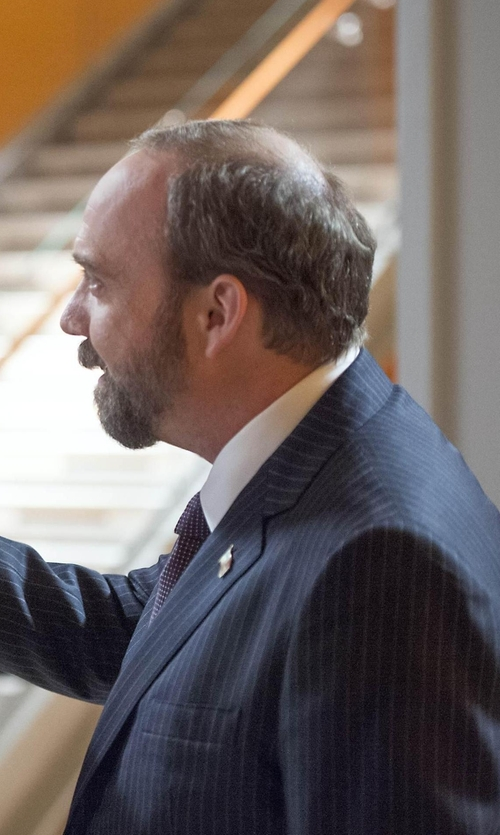 Paul Giamatti with Boss Hugo Boss The Grand/Central Regular-Fit Pinstriped Virgin Wool Suit in Billions