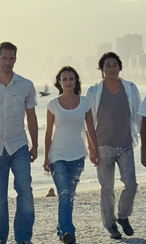 Jordana Brewster with Sacai Luck Scoop Neck T-Shirt in Fast Five
