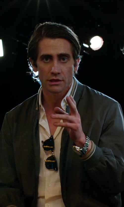 Jake Gyllenhaal with Prada Grey Wool Zip Front Baseball Jacket in Nightcrawler