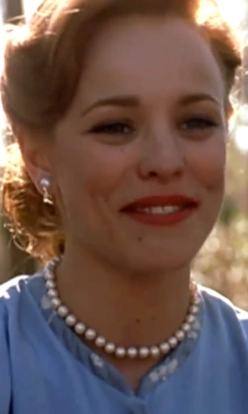Rachel McAdams with Vita Fede Champagne Akoya Pearl & Crystal Convertible Stud Earrings in The Notebook