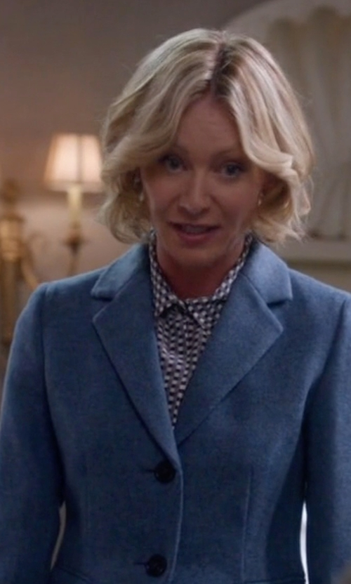 Portia de Rossi with Marni Printed Silk-Crepe Blouse in Scandal