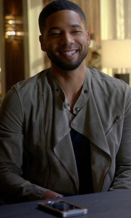 Jussie Smollett with Tomas Maier Suede Moto Jacket in Empire