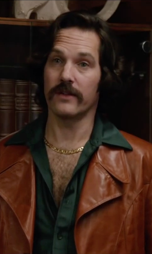 Paul Rudd with Thebestvintageclothing Vintage Metallic Leather Coat in Anchorman 2: The Legend Continues