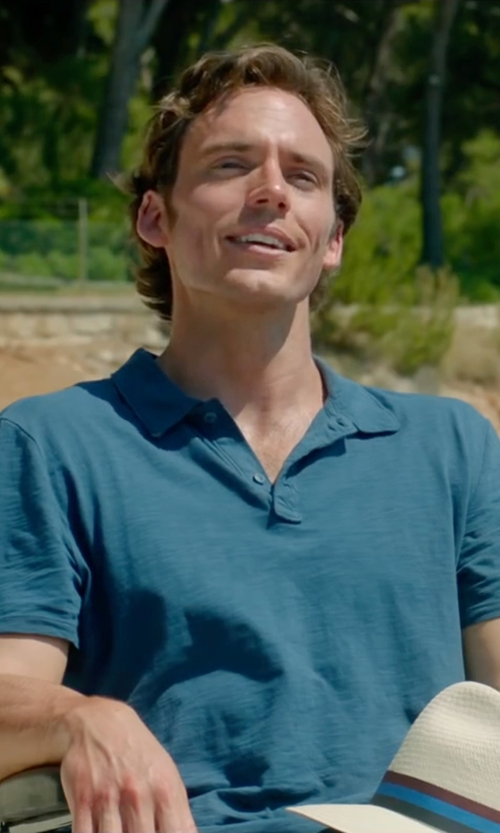 Sam Claflin with Gap Short Sleeve Polo Shirt in Me Before You