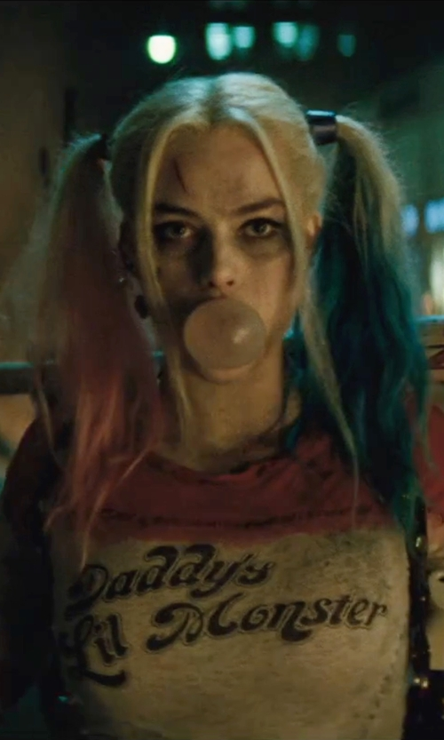 Margot Robbie with Much Needed Merch Daddy's Lil Monster Crop Top in Suicide Squad