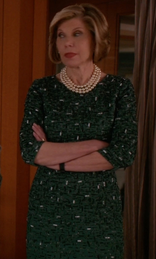 Christine Baranski with Veronica Beard Drifter Long-Sleeve Silk Animal-Print Midi Dress in The Good Wife