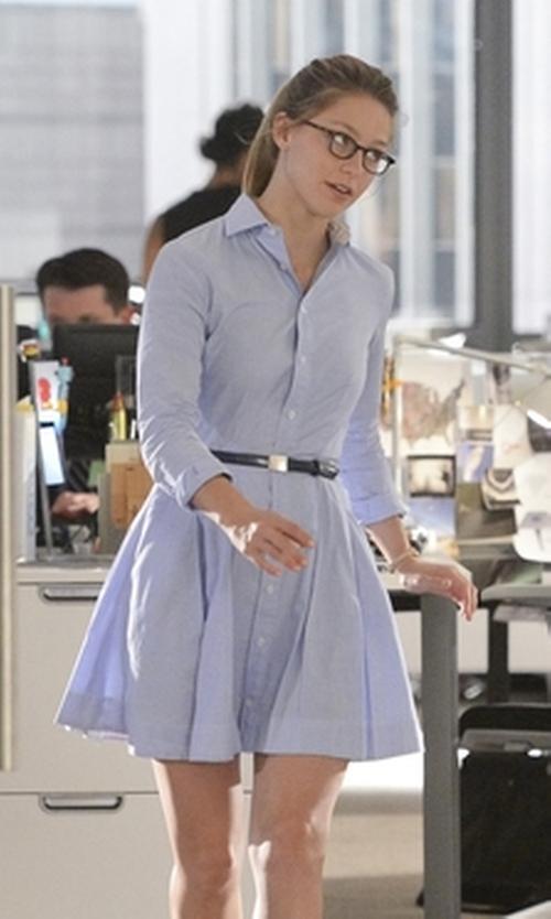 Melissa Benoist with Polo Ralph Lauren Pleated Poplin Shirtdress in Supergirl