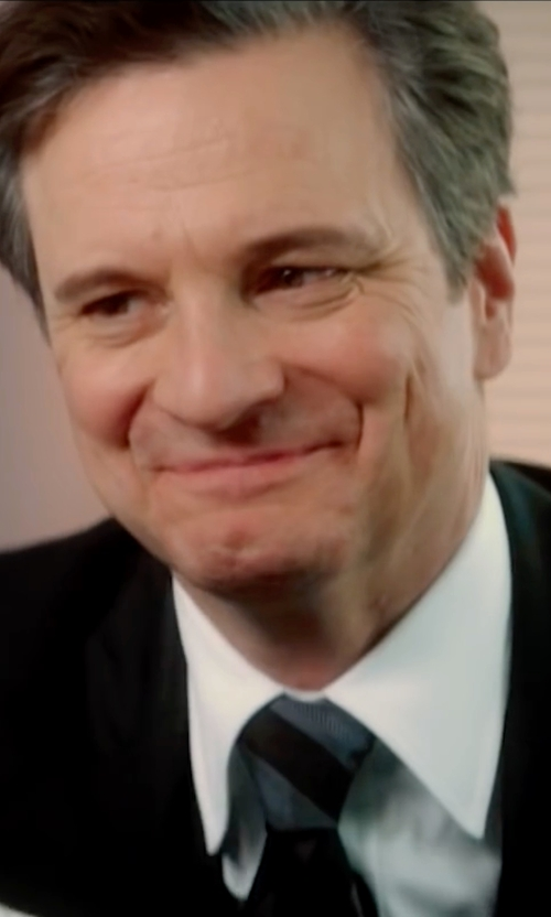 Colin Firth with John Varvatos Star U.S.A. University Stripe Tie in Bridget Jones's Baby