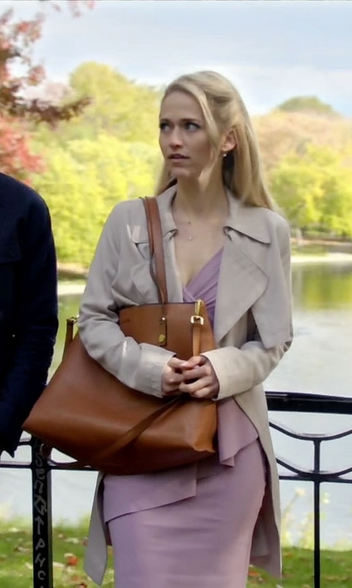 Johanna Braddy with Kelsi Dagger Commuter Leather Tote Bag in Quantico