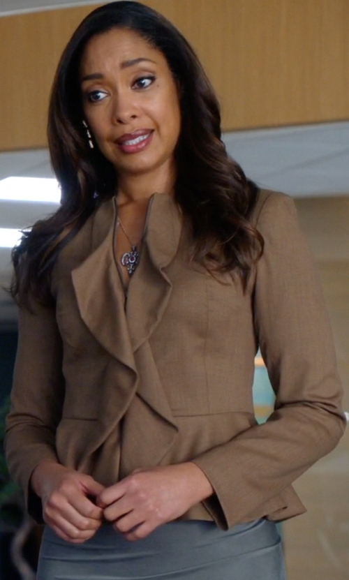 Gina Torres with Red Valentino Brown Wool Blend Tweed Ruffle Front Jacket in Suits
