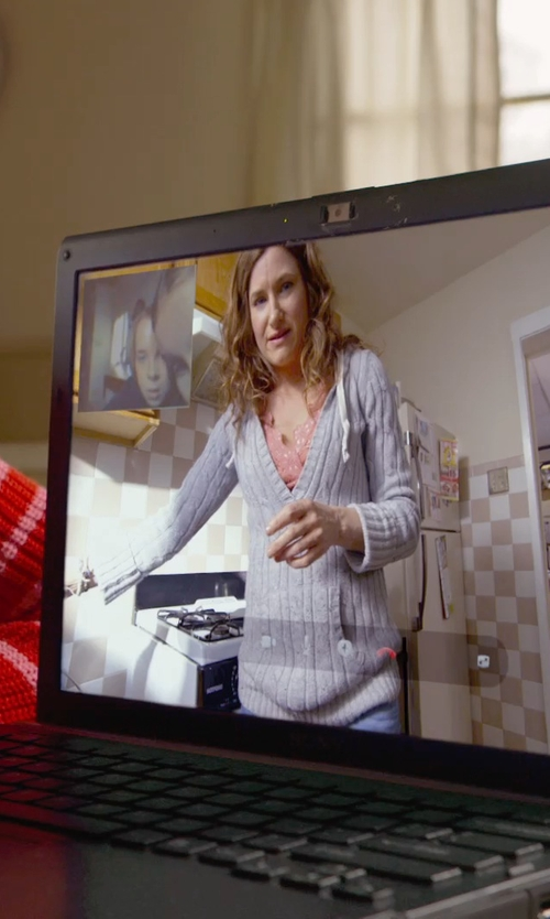 Kathryn Hahn with Aeropostale Solid Cable V Neck Knit Sweater in The Visit