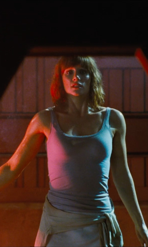 Bryce Dallas Howard with ATM Anthony Thomas Melillo Racerback Tank Top in Jurassic World