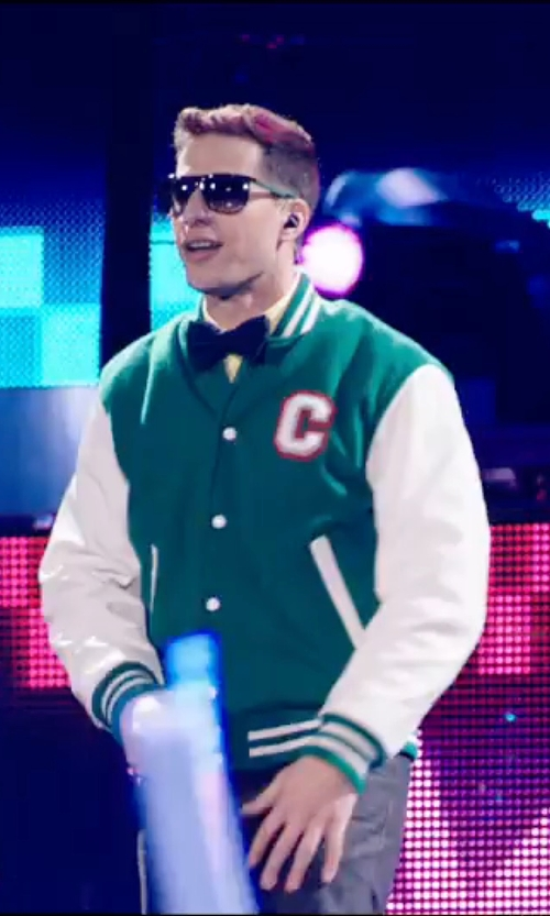 Andy Samberg with Batch1 Varsity Baseball Jacket in Popstar: Never Stop Never Stopping