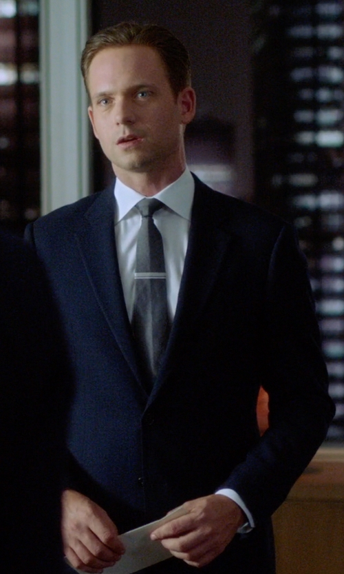 Patrick J. Adams with Hugo Boss Microcheck Two Button Wool Suit in Suits
