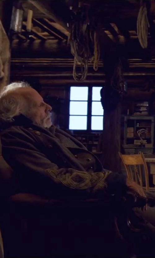 "Bruce Dern with Courtney Hoffman (Costume Designer) Custom Made ""General Sandy Smithers"" Confederate Uniform in The Hateful Eight"