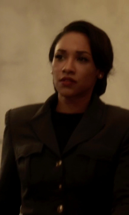 Candice Patton with Daniele Alessandrini Lapel Collar Blazer in The Flash