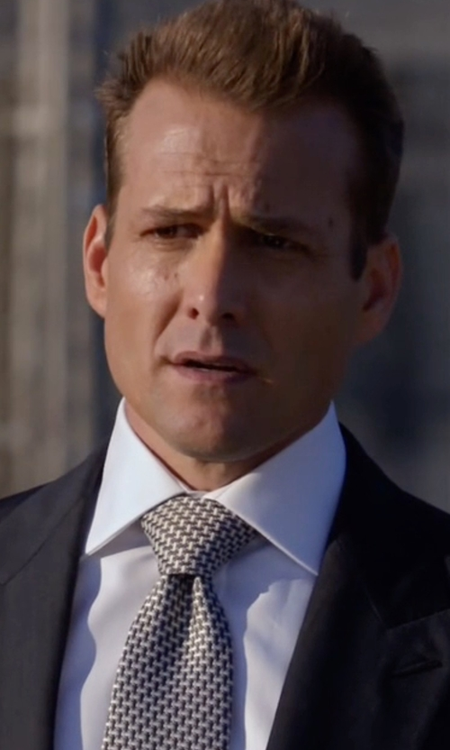 Gabriel Macht with Brioni Jacquard Printed Silk Tie in Suits