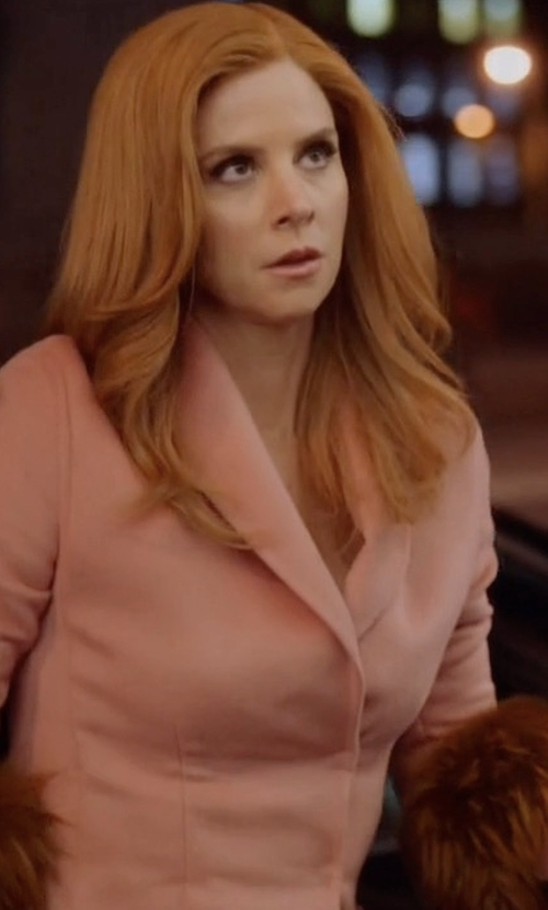 Sarah Rafferty with Prada Fur-Trimmed Shawl-Lapel Wool-Blend Coat in Suits
