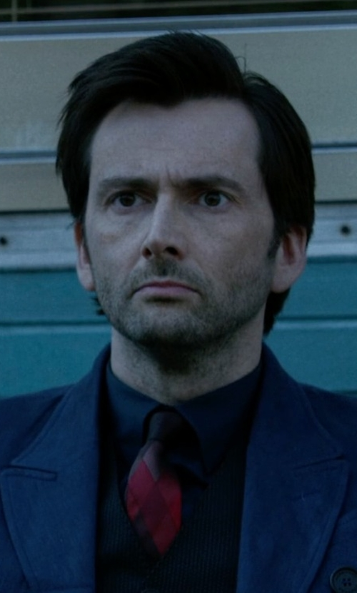 David Tennant with Burberry Diamond Silk Twill Tie in Jessica Jones
