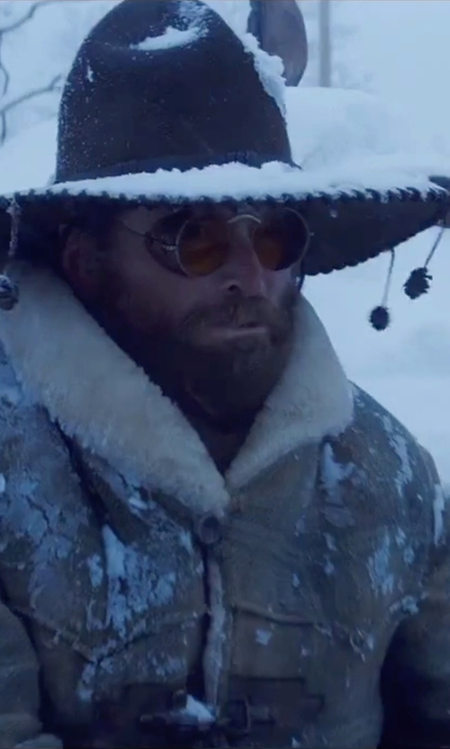 James Parks with Dsquared2 Double Breasted Shearling Jacket in The Hateful Eight