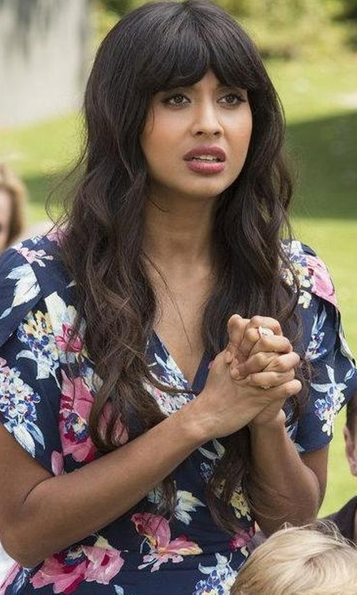 Jameela Jamil with Lauren Ralph Lauren Floral-Print Faux-Wrap Dress in The Good Place