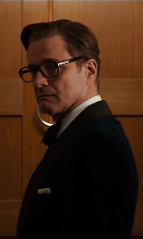 Colin Firth with Turnbull & Asser White Tuxedo Shirt With Piqué Bib Front in Kingsman: The Secret Service